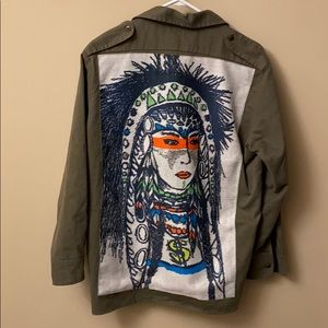 Oana Native American tribal print shirt jacket